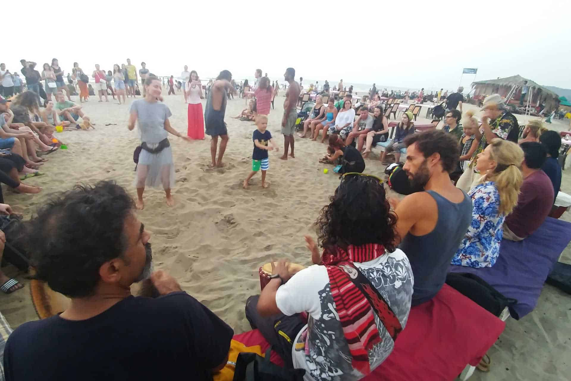 arambol beach drum circle